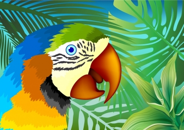 wild parrot background colorful flat icon design