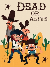 wild west banner cowboy icons colored cartoon