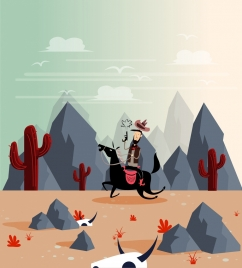 wild west drawing cowboy desert icons colored cartoon