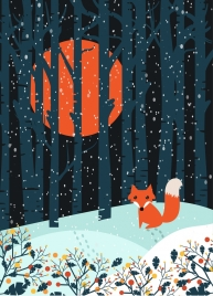 wild winter outdoor nature background small fox icon