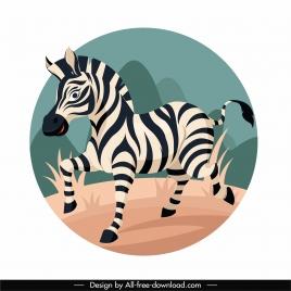 wild zebra icon colored cartoon sketch