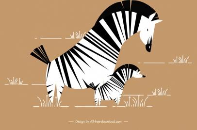 wild zebra painting classical flat design