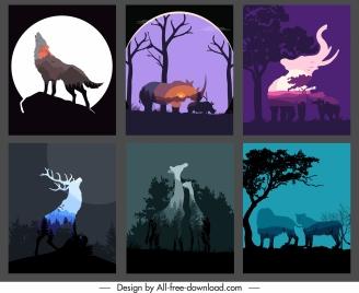 wilderness background templates dark blurred animals silhouettes
