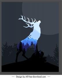 wildlife backgroud dark black blurred silhouette reindeer sketch