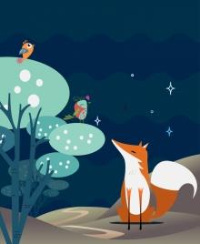 wildlife background bird fox icons colored cartoon decoration