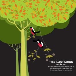 wildlife background birds tree icons decoration dark design