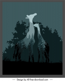 wildlife background blurred silhouette giraffes forest scenery combination