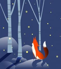 wildlife background brown fox icon falling snow decoration
