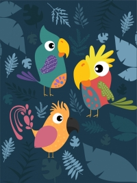 wildlife background colorful parrot icons plant backdrop