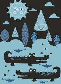 wildlife background dark colored cartoon crocodile sun icon