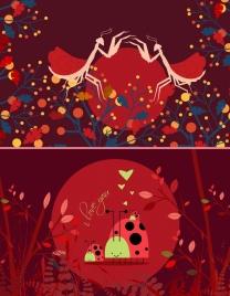 wildlife background dark red design grasshoppers ladybugs icons