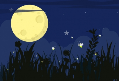 wildlife background flying fire fly round moon icons
