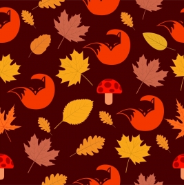 wildlife background fox leaves icons repeating style