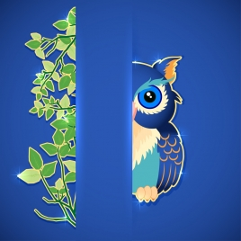 wildlife background leaves owl icons cutting style