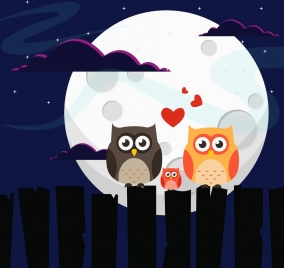 wildlife background owl family moonlight icons colored cartoon