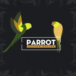 wildlife background parrots icon plant vignette border