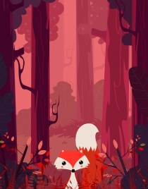 wildlife background red design jungle fox icons