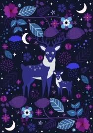 wildlife background reindeer flowers icons dark purple decor