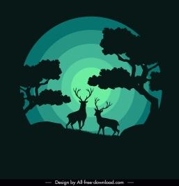 wildlife background reindeer moonlight sketch dark silhouette