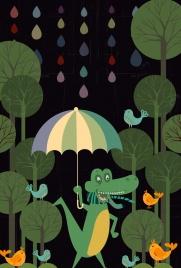 wildlife background stylized crocodile icon colored cartoon design