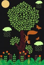 wildlife background tree fox butterflies icons cartoon design