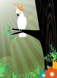 wildlife background white parrot icon sun rays decoration