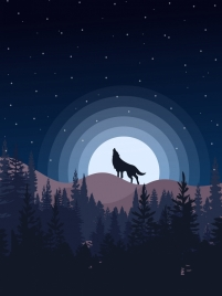 wildlife background wolf moon icon starry sky decor