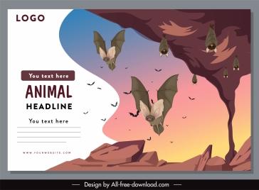 wildlife banner template bat species sketch cartoon design