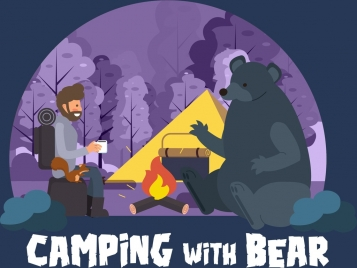 wildlife camp poster man bear tent campfire icons