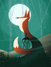 wildlife cartoon background fox icon moonlight decoration