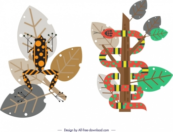 wildlife design elements frog snake leaf icons