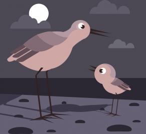 wildlife drawing birds moonlight icons cartoon design