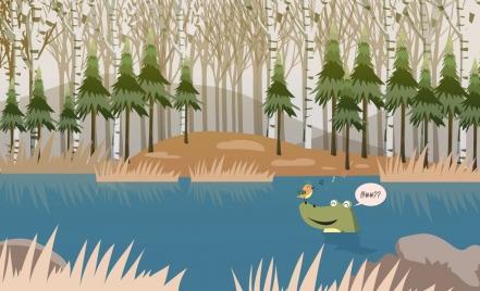 wildlife drawing crocodile bird icons cartoon design