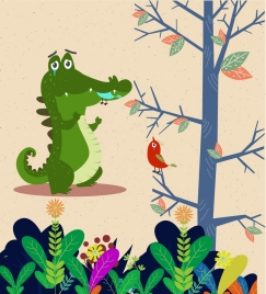 wildlife drawing crocodile birds icons stylized colored cartoon
