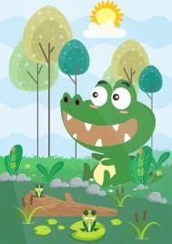 wildlife drawing crocodile frogs icons cute cartoon design