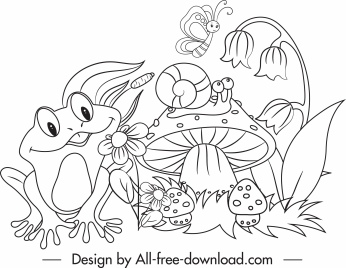 wildlife drawing cute cartoon sketch black white handdrawn