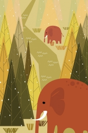 wildlife drawing elephants trees icons geometric design
