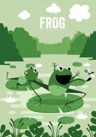 wildlife drawing frog icons green retro cartoon