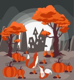 wildlife drawing red pumpkin tree fox icons decor