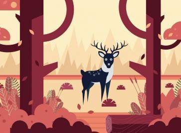 wildlife drawing reindeer jungle icon colored cartoon design