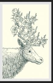 wildlife drawing reindeer rose icons handdrawn outline