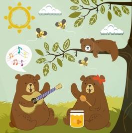 wildlife drawing stylized brown bears honeybees colored cartoon