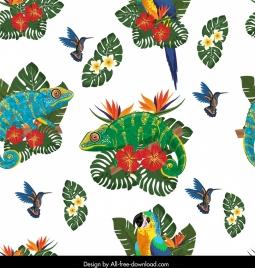 wildlife pattern woodpecker iguana parrot flowers decor