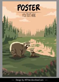 wildlife poster lemur species sketch classic design