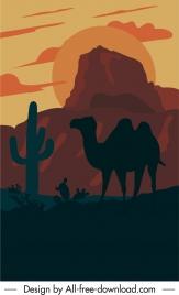 wildlife scene painting camel desert sketch dark design