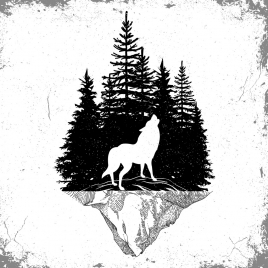 wildlife tattoo template wolf forest icons silhouette design