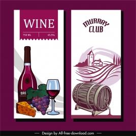 wine advertising card templates retro design product symbols