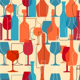 wine background bottles glasses decoration colorful repeating sketch