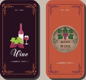 wine background sets classical colorful design