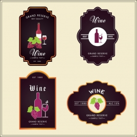 wine badges collection classical style dark design